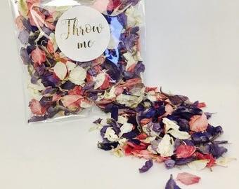 Flower petal confetti, purple & dark pink with off white petals, biodegradable, metallic gold calligraphy 'throw me' label, vintage wedding