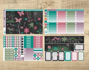 Bugs on Chalkboard 4 Page Weekly Kit for Erin Condren Vertical LifePlanner