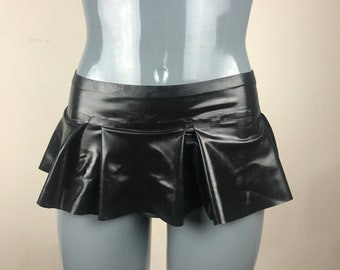 Micro mini latex flare skirt with pleats