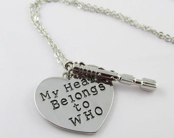 Dr Who Inspired My Heart Belongs to Who Charm Pendant Necklace 45cm