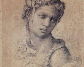 Copy of Michelangelo Buonarroti , Michelangelo, Cleopatra  , Michelangelo drawing, Renaissance art