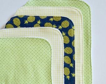 Pineapple Contoured Burp Cloths: Set of Five