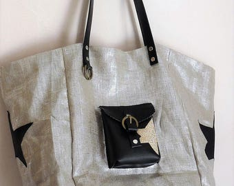 Silver lame linen, Black Stars style pomponette tote bag