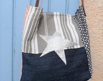grey/pink/black stripes/dots/geometric shoulder bag style pomponette star