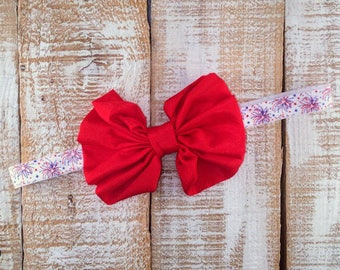 4th of July Headband, Patriotic Headband, Red Bow, Fireworks Headband, Newborn Headband, Toddler Headband, Girls Headband