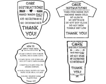 Care Instructions Etsy - Vinyl cup care instructions