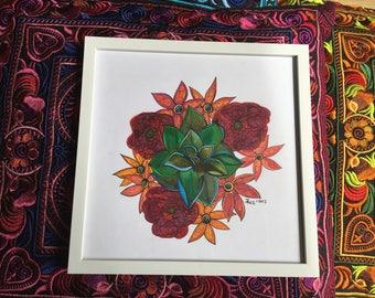 Bohemian Nature Succulent - Handdrawn Illustration - Colored Pencils