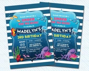 Digital Printable Under The Sea  Birthday Invitation. Girl Birthday. Boy Birthday