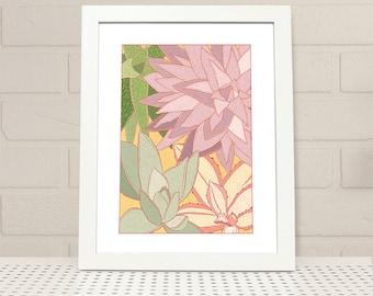 Succulents Printable Wall Art INSTANT DOWNLOAD, succulents print, digital print, illustration, plant print