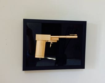 Valentines Day James Bond 007 Golden Gun presentation box Hanging or Desk Perfect for Dad or Grandpa Husband Him Boyfriend