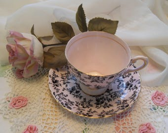 Vintage Teacup Pink and Black Tea Cup Tuscan Cup and Saucer