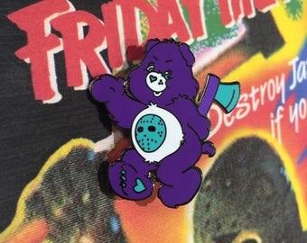 NES Jason Voorhees Scare Bear Enamel Pin // Lapel Pin // Friday the 13th // Video Game // Nintendo
