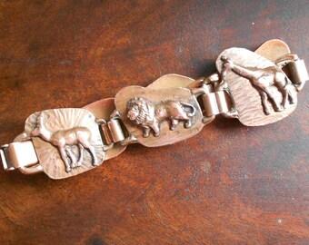 Vintage Copper African Animal Bracelet, Mid Century Design, Applied Elephant, Lion, Giraffe, Rhino, 1960s