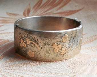Vintage Hallmarked Silver Cuff Bracelet, Oval, Engraved With Gold Floral Decoration
