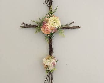 Woodland Nursery Cross, Christian Cross, Easter Decor, Twig Cross, Easter Cross, Rustic Cross, Nursery Cross, Christian Baby Decor
