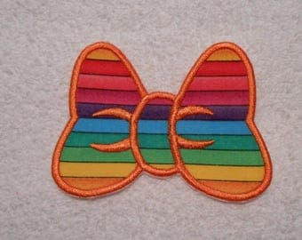 Rainbow Minnie Mouse Bow Iron on Applique Patch