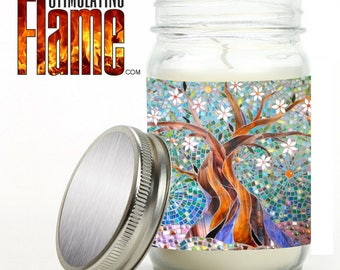 Candle in Jar - 11oz, Scented & Graphic Wrapped in Glossy Artwork - Mosaic Tree Design