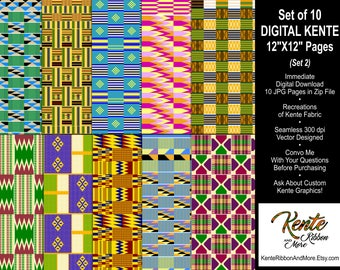 "DIY Set #2 - Printable Digital Kente Recreations - 10 Pages Size 12""x12"" - Digital Download - 4 Zip Files with total of 10 JPEG pages"