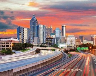 Atlanta at dusk, Atlanta Canvas, Atlanta skyline, Atlanta Wall canvas, 3 panel or single panel Atlanta art, Atlanta photo, Atlanta wall art