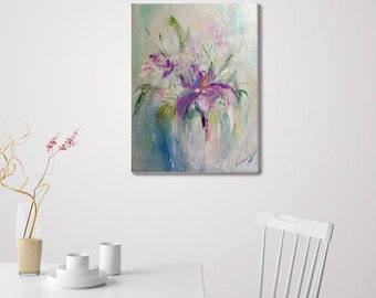 Abstract Painting Flowers Oil Painting On Canvas Impressionism Impasto Painting Contemporary Art Original Painting Abstract Art Canvas Gift