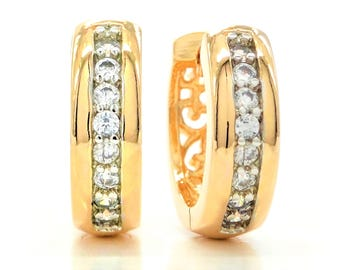 Real 18ct yellow gold plated hoop earrings with sparkling clear white round gems, genuine gold hoop, black jewelry box purple earrings bag