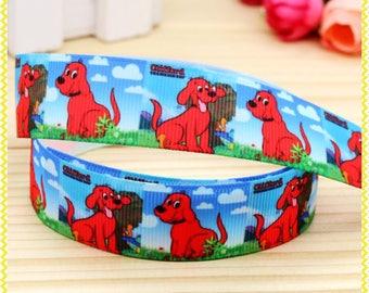 "Clifford Grosgrain 7/8"" Printed Ribbon, Clifford the Big Red Dog Ribbon"