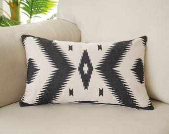 Aztec lumbar pillow covers Tribal throw pillow covers Navajo waist pillow case Black and white pillow cover Sofa couch home decor gift 12x20