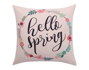 Watercolor flower throw pillow cover Spring wreath pillow cover Quote decorative pillow case Hello spring cushion case Sofa home decor 18x18