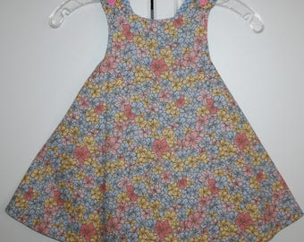 3T,  Multi Color Flower Reversible Sundress with Blue and White Checks.
