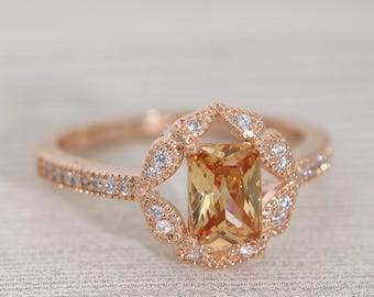 FREE SHIPPING Vintage Rose Gold Floral Champagne CZ Ring /Art Deco Engagement Ring #1001