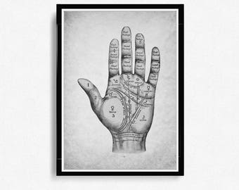 Palmistry Hand Print, Fortune Telling, Palm Reading, Palm Readers, paper texture Decor, Chiromancy Print *1*