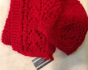 Red sparkle scarf and hat