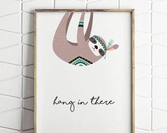 80% OFF sloth printable wall decor, printable wall decor, sloth wall decor, hang in there, hang in there decor, sloth print, sloth art