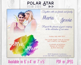 Mrs and Mrs - Modern Lesbian Wedding / Engagement Photo Invitation - LGBT Watercolor Rainbow, Old Paper - DIY Printable Digital File (153)