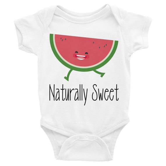 Watermelon Baby Onesie Bodysuit, Naturally Sweet, one piece baby,  Newborn Baby Fun Watermelon Shirt, One in a melon, watermelon onesie