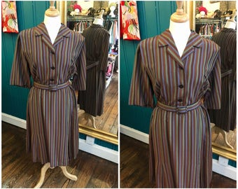"""Late 1950s Early 1960s Striped Shirtwaister Dress W40"""" XL XXL Plus Size"""