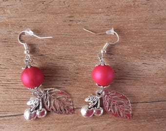 Red cherries and leaves earrings