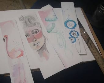 BOOKMARKS- hand made water color illustrated bookmarks. original illustration on 300g watercolors quality paper.