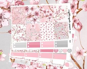 Cherry Blossom (Sakura) Themed Planner Sticker Kit for use with Erin Condren Lifeplanner