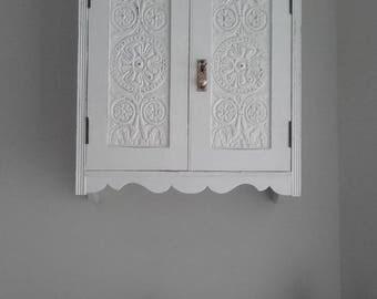 Shabby chic small oak bathroom cabinet Farrow & Ball. Free UK delivery