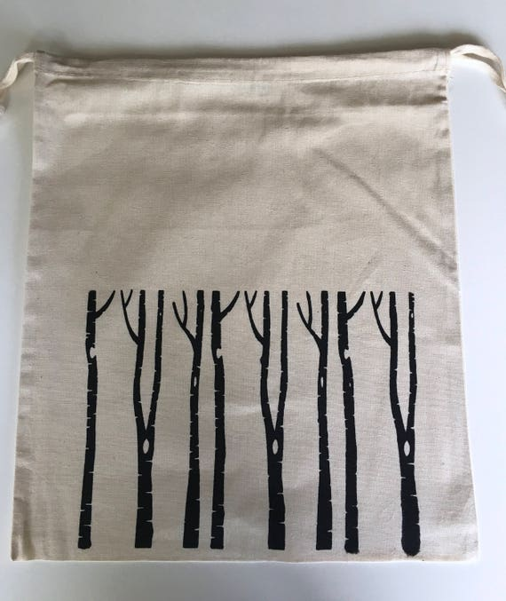 Hand Printed Cotton Drawstring Project Bag- Birch