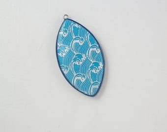 """Marzipan"" blue polymer clay and white Pendant 1"