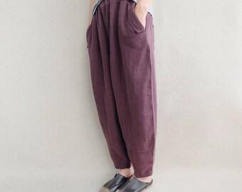 Women Leisure Linen Pants Loose Harem Pants Wide Leg Cropped Pants Comfortable Pants Baggy Pants