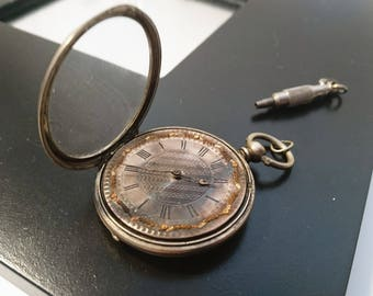Beautiful 1800's continental silver pocket watch, antique jewelled silver pocket watch, silver pocket watch with key