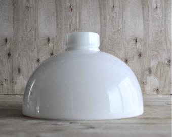 Vintage Milk Glass Half Sphere Lamp Shade/ Light Cover. c. 1950s/ Opalesque Light Pendant/ White Light Shade
