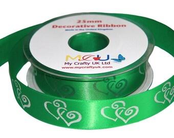 1 Metre of 25mm Double Heart Ribbon - Emerald Green - Wedding Anniversary Decoration Cake