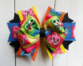 Mickey & Minnie Mouse Hair Bow/Mickey and Minnie Mouse Hair Clip/Mickey Hair Bow/Minnie Hair Bow/Disney Hair Bow/Character Hair Bow