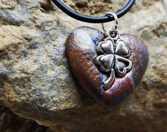 Small 4 leaf clover made of polymer clay Heart Necklace