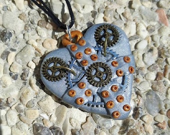 Silver polymer steampunk way Heart Necklace.