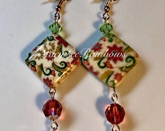 Ceramic Beaded Dangle Earrings